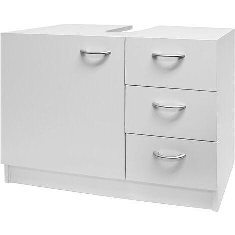 Waschbeckenunterschrank Unterschrank | 3 Schubladen + 1 große Tür | weiß | Materialstärke: 15mm