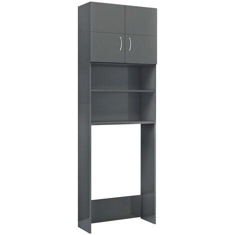 Waschmaschinenschrank Hochglanz-Grau 64x25,5x190 cm Spanplatte