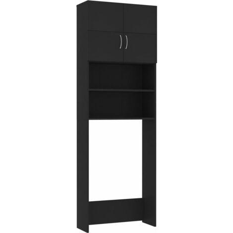 Waschmaschinenschrank Schwarz 64x25,5x190 cm Spanplatte