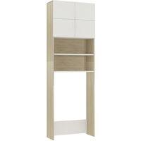 Waschmaschinenschrank Weiß und Sonoma 64x25,5x190 cm Spanplatte