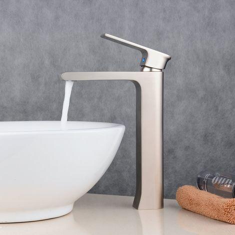 Waschtisch-Armatur ein Hebel, ideal für Waschbecken, Aufsatzbecken (hoch)