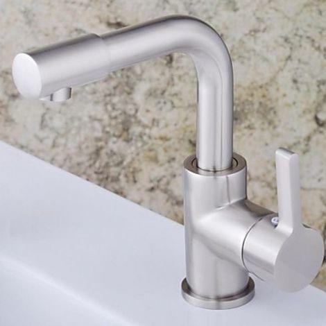 Waschtisch-Armatur, Einhebelmischer (massiv), moderne Ausführung in Nickel