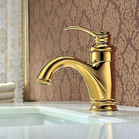 Waschtisch-Armatur Farbe Gold, Messing, Einhebelarmatur