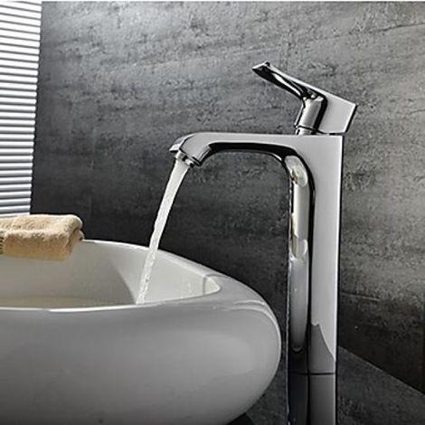 Waschtisch-Armatur (hoch), Einhebelarmatur, modernes Design, verchromtes Metall
