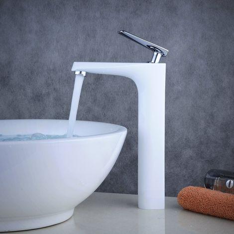 Waschtisch-Armatur hoch für Waschbecken, massives Messing, Weiß + Chrom
