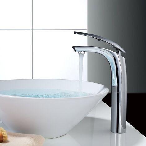 Waschtisch-Armatur in Komforthöhe, Mischventil, verchromt, für Aufsatzbecken, mit Perlstrahlkopf, ABS Neoperl-Strahlregler