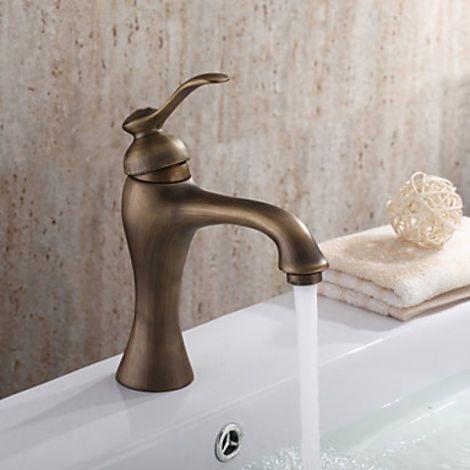 Waschtisch-Armatur in Messing-Ausführung, Einhebel-Armatur, Design am Antik-Stil inspiriert