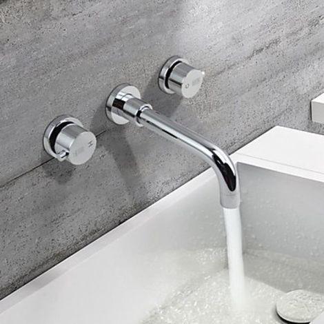 Waschtisch-Armatur massiv, Zweihebelarmatur, modernes Design, verchromt