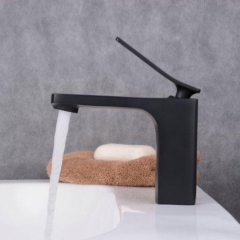 Waschtisch-Armatur Mattschwarz für das Waschbecken, Mischer, 1-Loch, eckiges Design