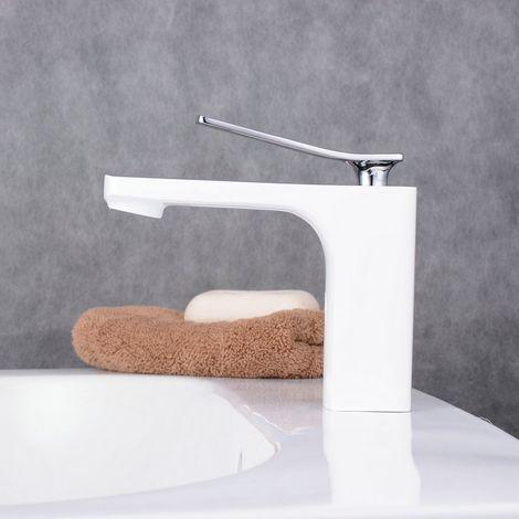Waschtisch-Armatur Mischer, lackiertes Weiß, 1-Loch, eckig, L-Form