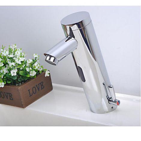 Waschtisch-Armatur mit automatischem Sensor, verchromt, modernes Design