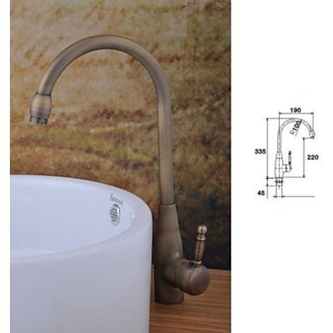 Waschtisch-Armatur mit einem Hebel, Einloch-Installation, Messing