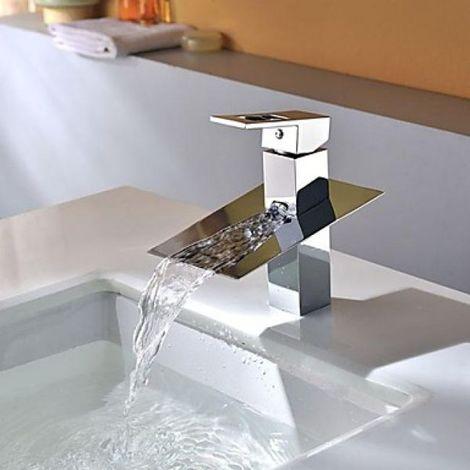 Waschtisch-Armatur mit flachem Auslauf, Wasserfalleffekt, mit integrierter Mischbatterie