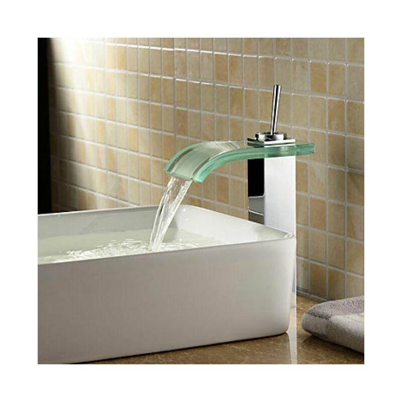 Waschtisch Armatur Mit Gebogenem Auslauf Aus Glas Mit Wasserfall Effekt Modernes Design 6110541772831