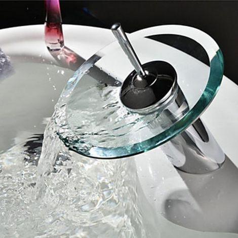 Waschtisch-Armatur mit gläsernem Auslaufbecken, modernes Design mit einem Hebel