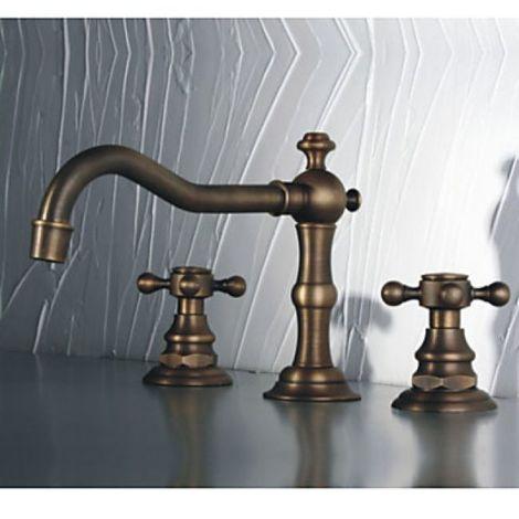Waschtisch-Armatur mit zwei Griffen, Kupfer-Ausführung, antiker Stil, 3-Loch-Montage