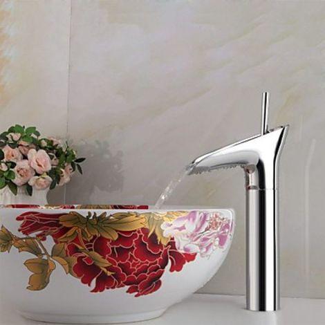Waschtisch-Armatur modern, Messing, Chrom, Einhebelarmatur