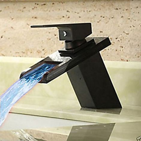 Waschtisch-Armatur schwarz, LED-Licht mit wechselnden Faben, Einhebel-Armatur