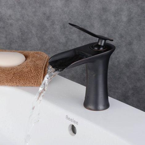 Waschtisch-Armatur schwarz, Mischer, Wasserfallauslauf, Design