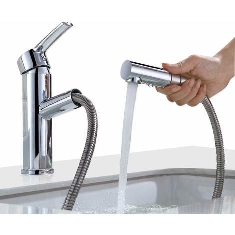 Waschtisch Armatur Wasserhahn Bad mit ausziehbarem Brause Mischbatterie Bad Waschbeken Einhebelmischer Armatur Waschtischarmatur