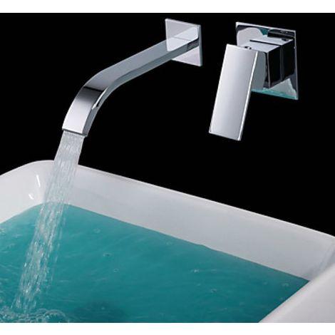 Waschtisch-Armatur zur Wandmontage, Einhebel-Armatur, verchromtes Metall (modernes Design)