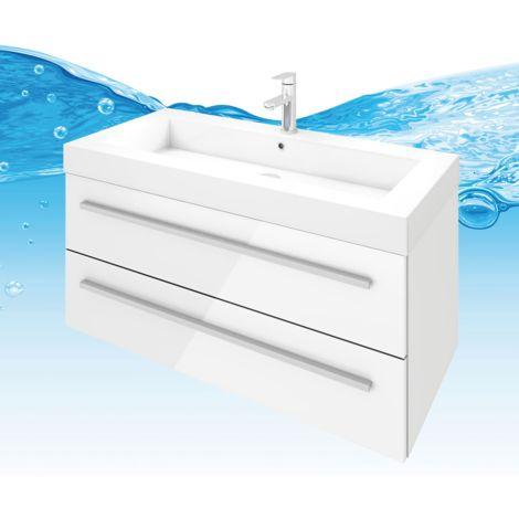Waschtisch mit Waschbecken, Unterschrank City 101 100cm Hochglanz Weiß