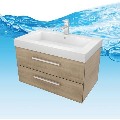 Waschtisch mit Waschbecken, Unterschrank City 101 80cm braun Eiche