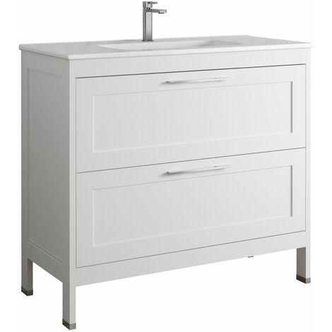 Waschtisch Unterschrank 100cm matt weiß TARIFA-110 mit 2 Softclose-Auszügen, B/H/T ca. 100/89/45cm