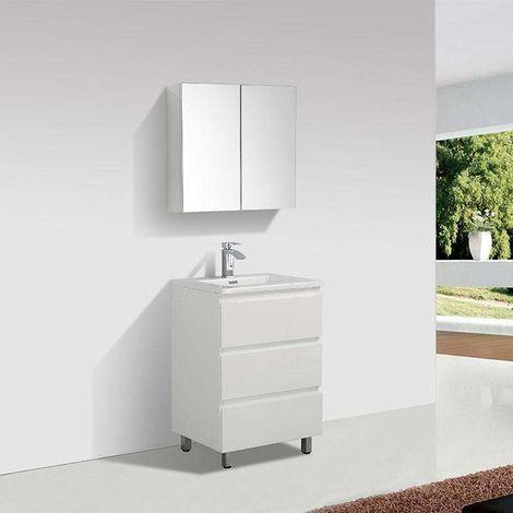 Waschtisch + Unterschrank 60 cm montiert VERONA weiß
