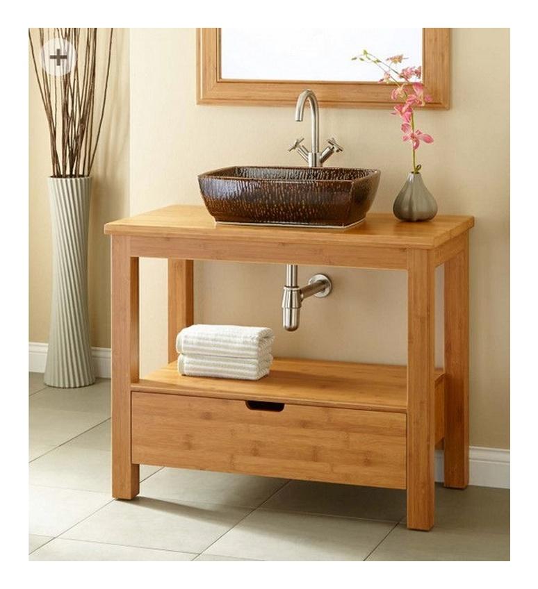 waschtisch unterschrank 70 cm bambus massiv natur. Black Bedroom Furniture Sets. Home Design Ideas