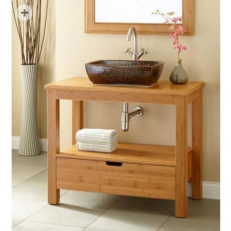 waschtisch unterschrank 70 cm bambus massiv natur schublade mit softclose 70 x 74 x 52 cm. Black Bedroom Furniture Sets. Home Design Ideas