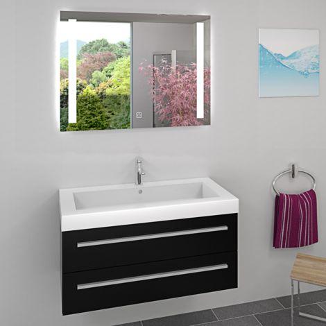 Waschtisch Waschbecken und Leuchtspiegel BSP02 Unterschrank City 100 100cm Weiss