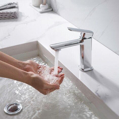 Waschtischarmatur Aihom Wasserhahn Bad, Badarmatur mit hochwertigem ABS Perlator und Keramikventilen, verchromtes Messing, heißes und kaltes Wasser vorhanden, Waschbecken Wasserhahn