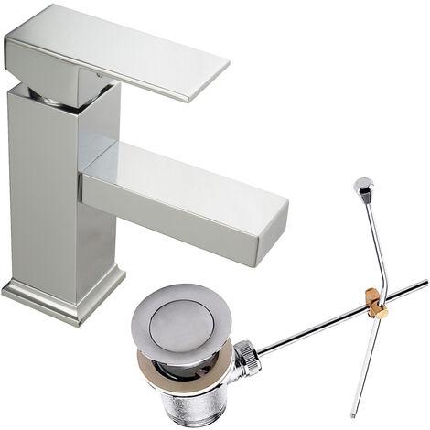 Waschtischarmatur Aufputz Eckig Einhandmischer mit Zugstange Metall