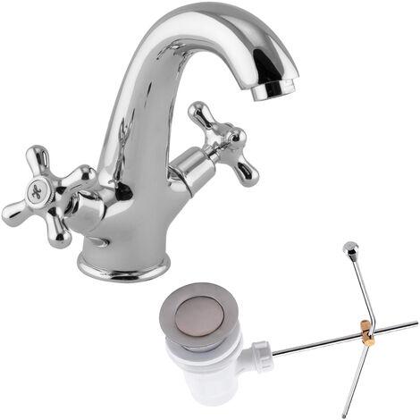 Waschtischarmatur Aufputz Wasserhahn Zweigriffmischer Retro Excenter