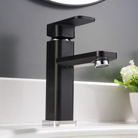 Waschtischarmatur Badarmatur Wasserhahn 1233CB in Chrome / Schwarz