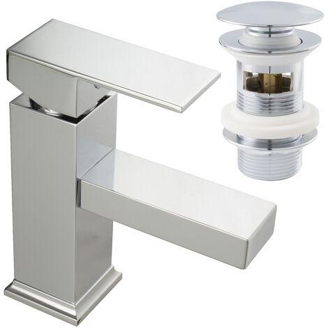 Waschtischarmatur Einhandmischer Wasserhahn Eckig mit Popup Excenter