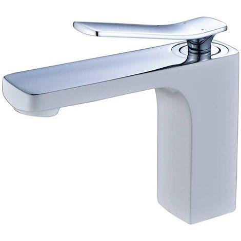 Waschtischarmatur Einhebel Armatur Mischbatterie Wasserhahn Weiss Chrom Sanlingo