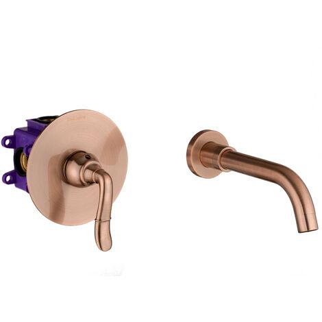 Waschtischarmatur Kupfer Rote Bronze 2-Loch Unterputz Armatur Retro