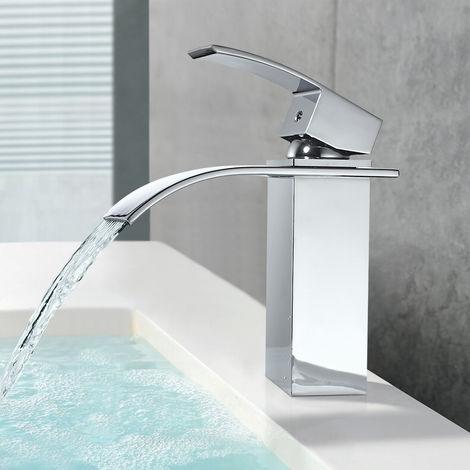 Waschtischarmatur Wasserfall Chrom Wasserhahn Bad Kaltes und Heißes Mischbatterie Waschbecken Armatur Einhebelmischer für Badewanne Badzimmer
