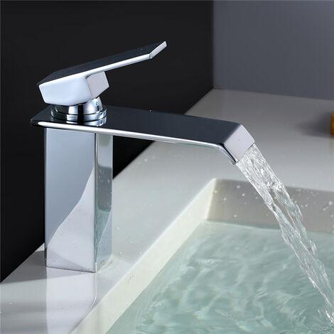Waschtischarmatur Wasserfall Wasserhahn Bad chrom Kaltes und Heißes Badarmatur Wasserhahn Waschbecken für Badezimmer Einhebelmischer Waschbeckenarmatur Brass