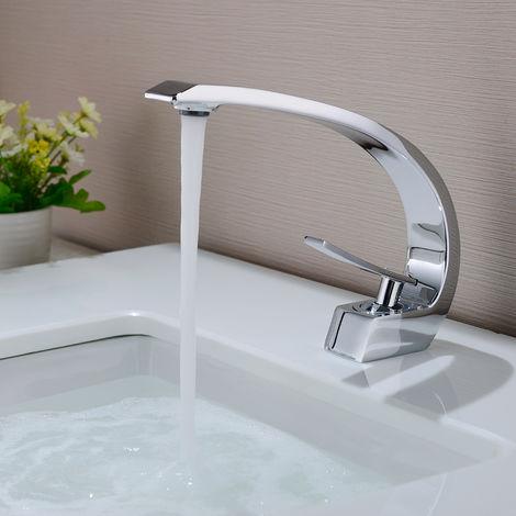 Waschtischarmatur Wasserhahn Bad Armatur Einhebelmischer Mischbatterie Waschbeckenarmatur für Badezimmer Waschbecken (ohne Zugstangen-Ablaufgarnitur)