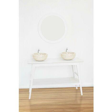 Waschtischkonsole 120 cm montiert TORI Teakholz weiß