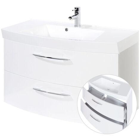 Waschtischunterschrank 100cm mit Waschbecken FLORIDO-03 Hochglanz weiß, B x H x T ca.: 100 x 54 x 47 cm