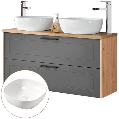 Waschtischunterschrank 120cm mit 2 Keramikbecken MATERA-56 matt grau, Artisaneiche, B/H/T ca. 120/78,5/46 cm
