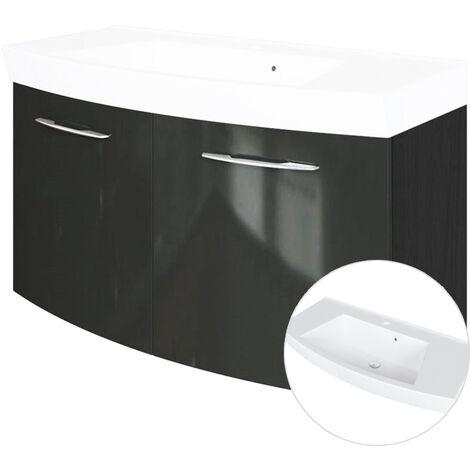 Waschtischunterschrank 2-trg, 100cm, mit Waschbecken FLORIDO-03 Hochglanz grau, B x H x T: 100 x 54 x 47 cm
