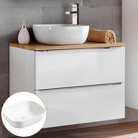 Waschtischunterschrank 80cm mit 50cm Keramikbecken TOSKANA-56, in Wotaneiche & Hochglanz weiß, B/H/T ca. 81/74,5/46 cm