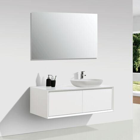 Waschtischunterschrank für Aufsatzwaschbecken 120 cm vormontiert mattweiß PALIO