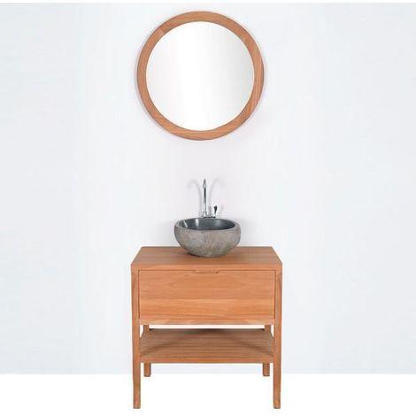 Waschtischunterschrank für Aufsatzwaschbecken 80 cm vormontiert SVEG Teakholz massiv