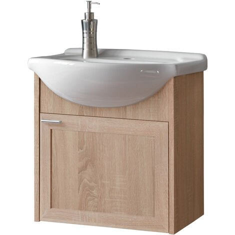 Waschtischunterschrank inkl. Keramik-Waschbecken 50cm ARICA-56, Sonoma Eiche Nb., B x H x T ca. 50 x 48 x 30 cm